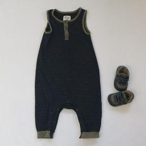 Sleeveless One-Piece Striped Bodysuit Romper